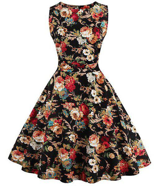 Stunning Women's Jewel Neck Sleeveless Floral Print Dress - COLORMIX S