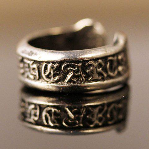 Retro Embossed Word Ring For Women - ONE-SIZE SILVER GRAY