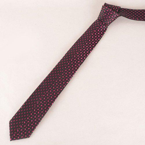 Stylish Rose Color Small Rhombus and Paisley Jacquard Men's Tie