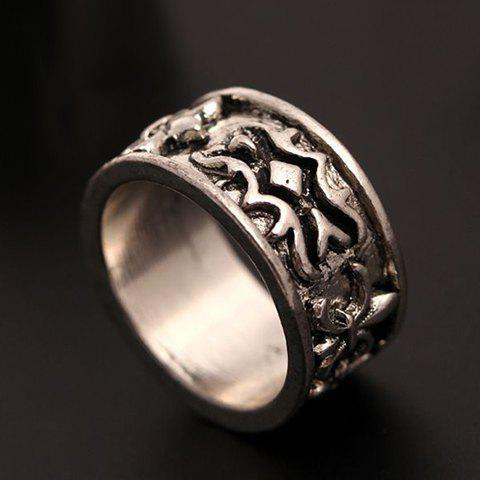 Retro Embossed Floral Ring For Women