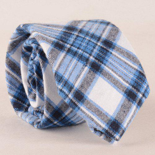 Stylish Blue Tartan Pattern Men's Red Tie - BLUE