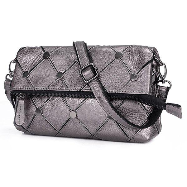 Trendy Solid Color and Metal Design Women's Crossbody Bag - SILVER
