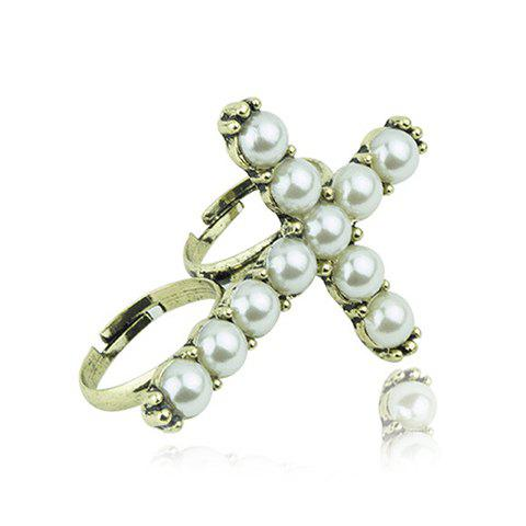 Faux Pearls Cross Double Fingers Ring double ring