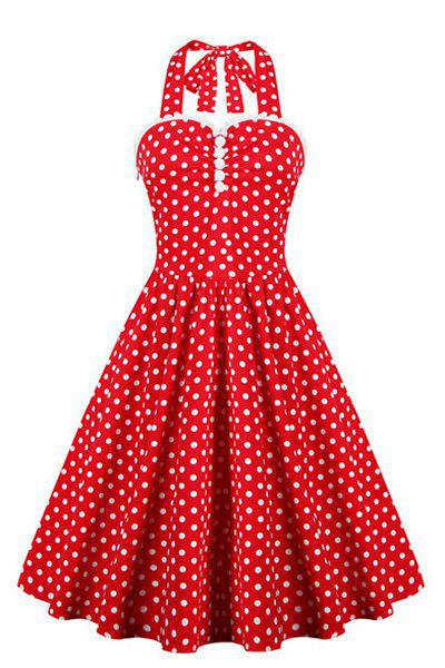 Retro Style Women's Ruffled Polka Dot Halter Dress - RED S
