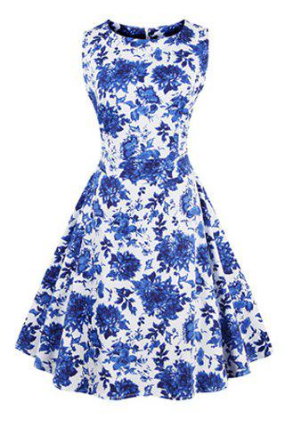 Vintage Style Women's Jewel Neck Sleeveless Ruffled Dress - BLUE S