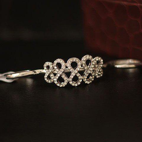 Retro Rhinestoned Number Double Fingers Ring For Women