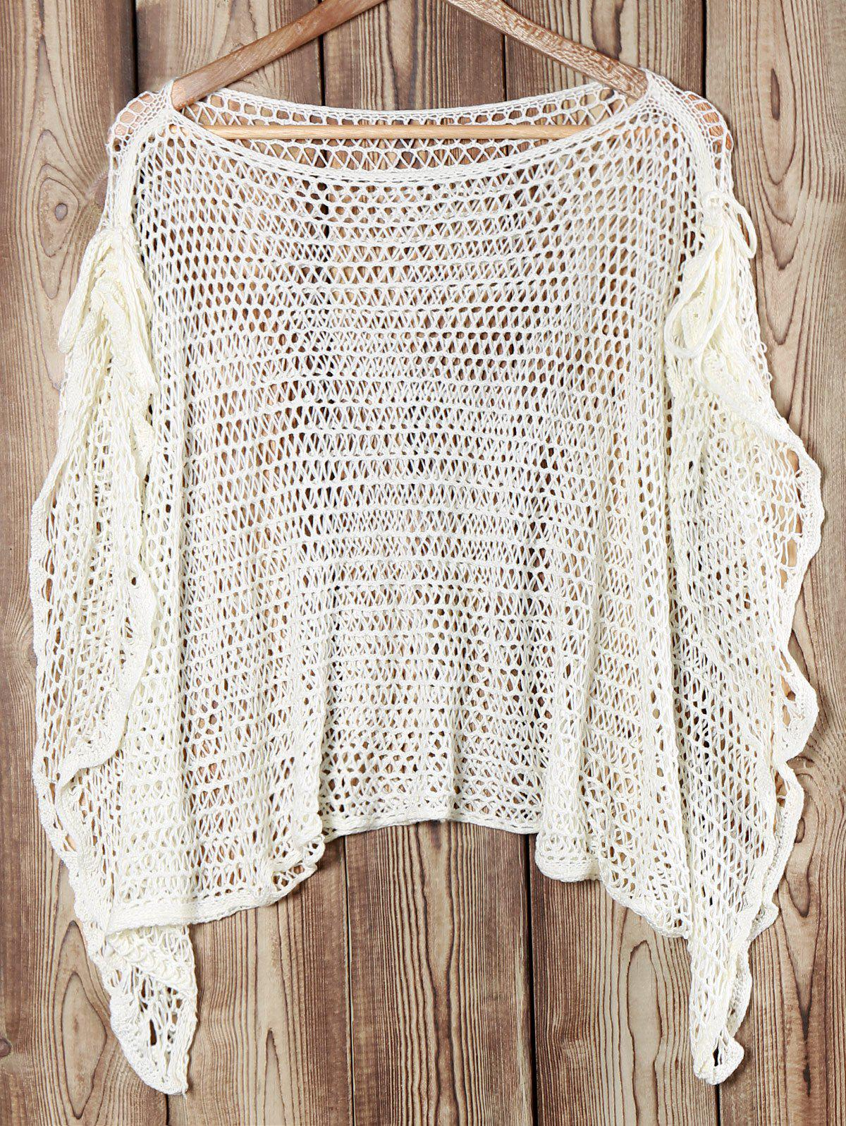 Stylish Women's Boat Neck Lace-Up Cover-Up - WHITE ONE SIZE(FIT SIZE XS TO M)