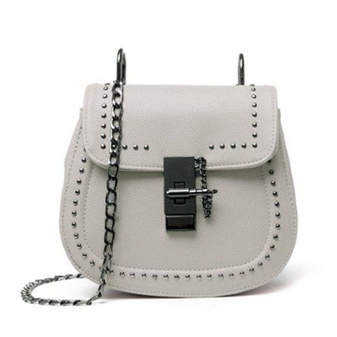 Fashionable Chain and Solid Colour Design Women's Crossbody Bag - LIGHT GRAY
