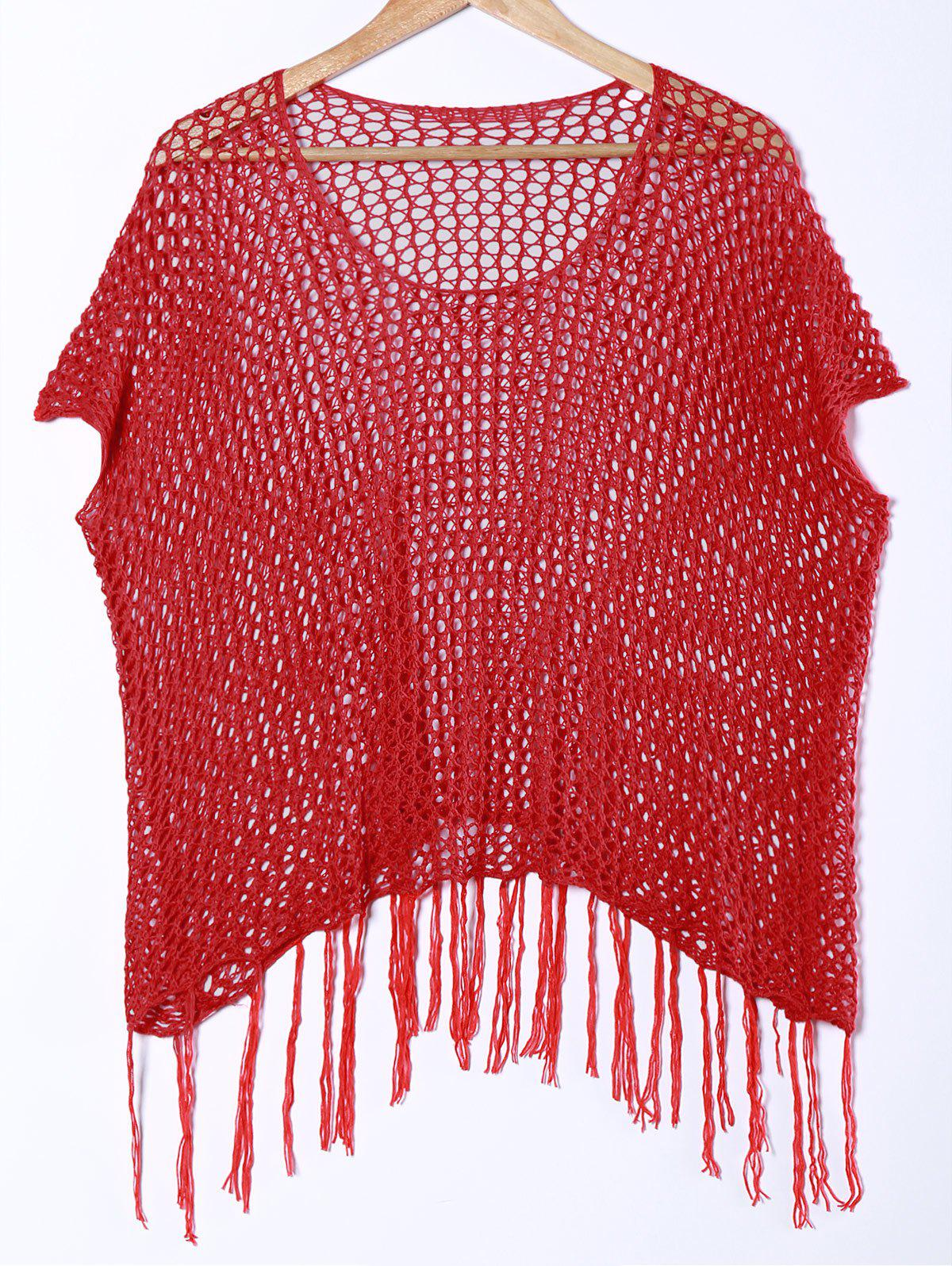 Stylish Women's Scoop Neck Short Sleeve Fringed Cover-Up - RED ONE SIZE(FIT SIZE XS TO M)