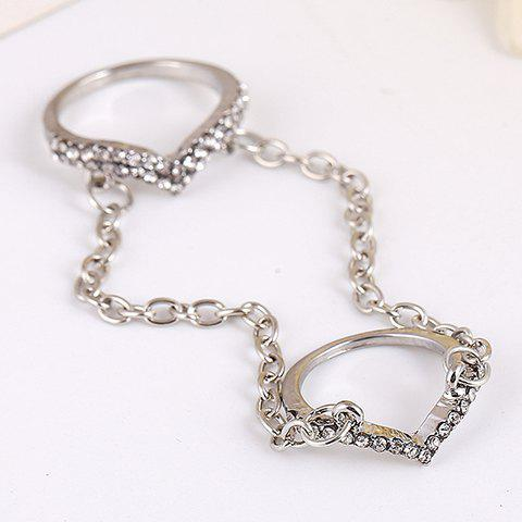 Retro Rhinestoned Chain Ring For Women - SILVER