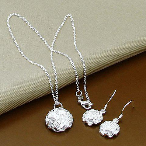 A Suit of Floral Alloy Necklace and Earrings - SILVER