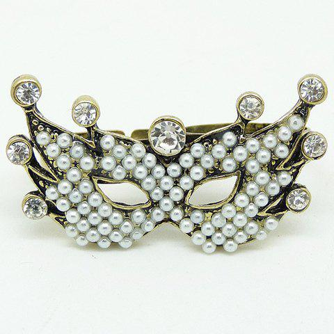 Retro Faux Pearl Rhinestone Mask Double Fingers Ring For Women