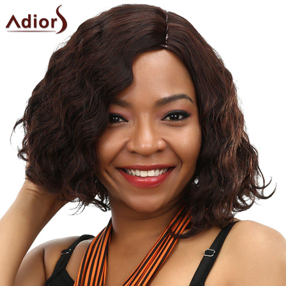 Fluffy Curly Synthetic Fashion Short Side Parting Dark Brown Adiors Wig For Women - DEEP BROWN