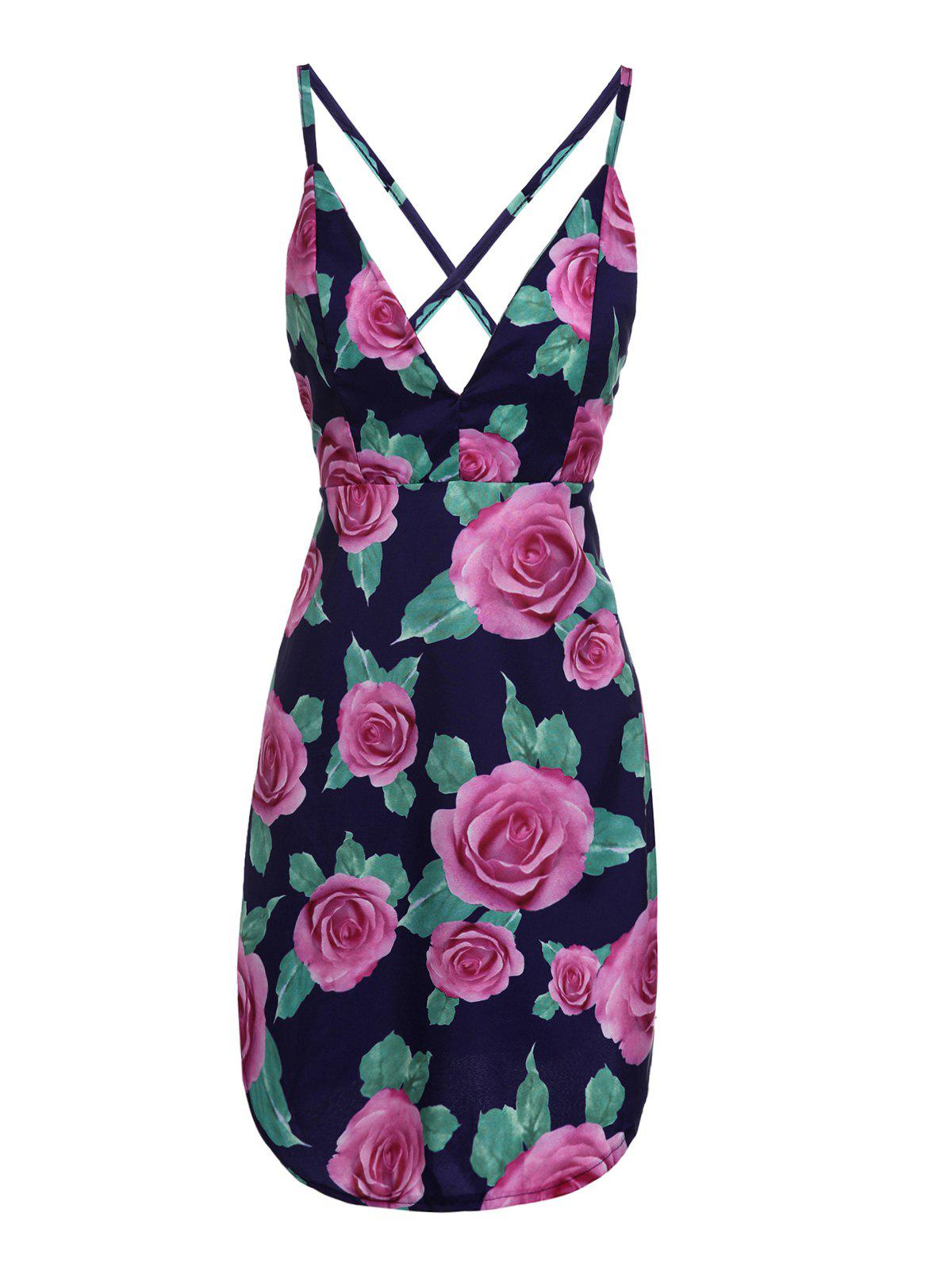 Trendy Open Back Flower Print Dress For Women - COLORMIX S