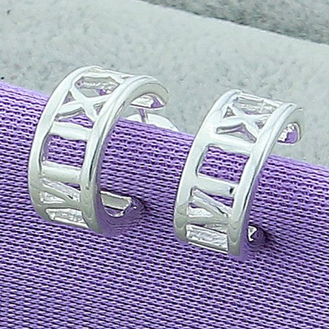 Pair of Hollow Out Roman Numerals Earrings - SILVER