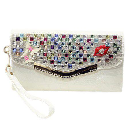 Fashionable Rhinestones and Covered Closure Design Women's Clutch Bag - WHITE
