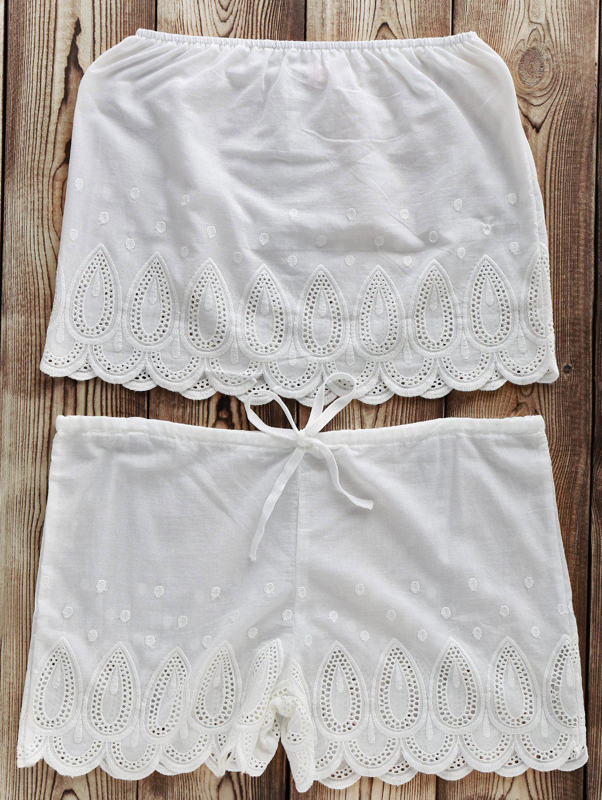 Simple White Strapless Tube Top + Solid Color Drawstring Shorts Women's Twinset