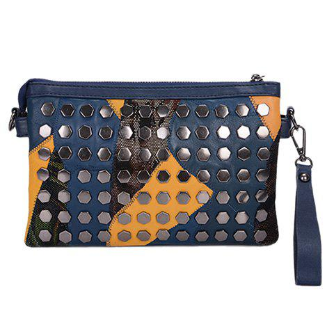 Casual Rivets and Tassel Design Women's Crossbody Bag - CADETBLUE