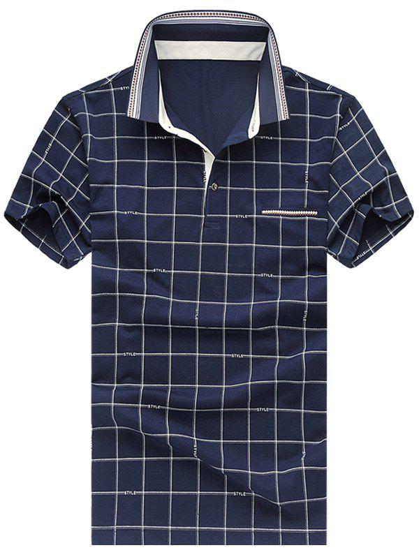 Men's Casual Short Sleeves Plus Size Plaid Printed T-Shirt - 3XL CADETBLUE