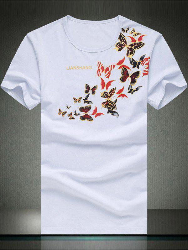 Round Neck Plus Size Stylish Butterfly Print Short Sleeve Men's T-Shirt - WHITE 4XL