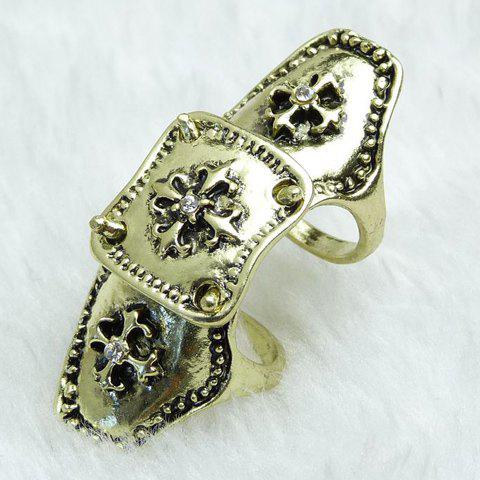 Rhinestone Carving Cross Ring - COPPER COLOR