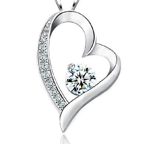 Heart Shape Rhinestone Hollow Out Necklace - SILVER