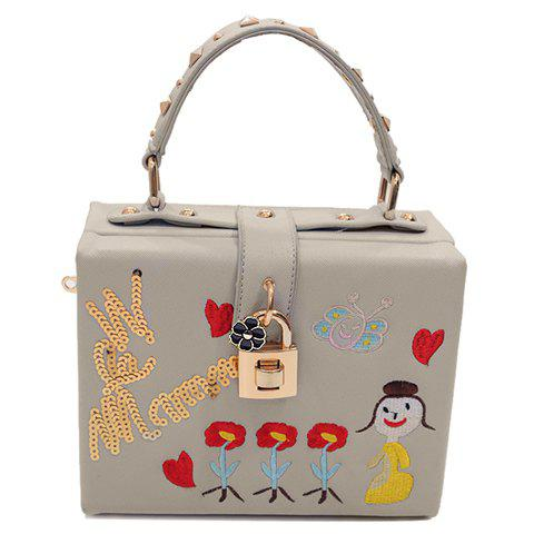 Trendy Rivets and Embroidery Design Women's Crossbody Bag - LIGHT GRAY