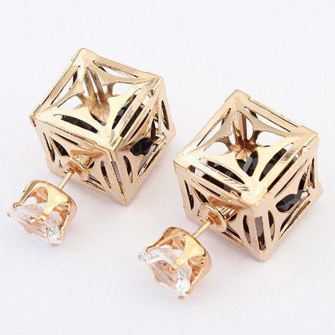 Pair of Square Rhinestone Earrings - BLACK
