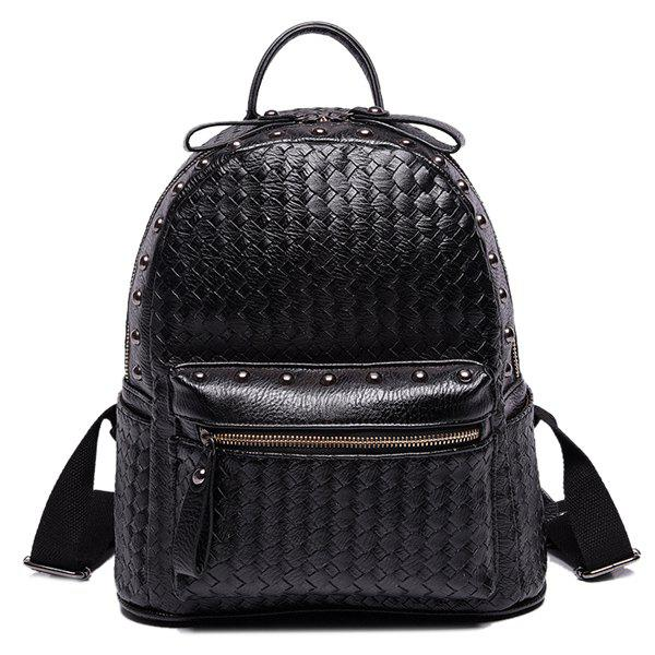 Preppy Style Rivets and Weaving Design Women's Satchel - BLACK