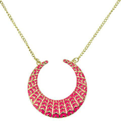 Moon Geometric Pendant Necklace - PINK