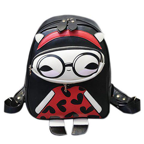 Fashionable Multicolor and Cartoon Pattern Design Women's Backpack - BLACK