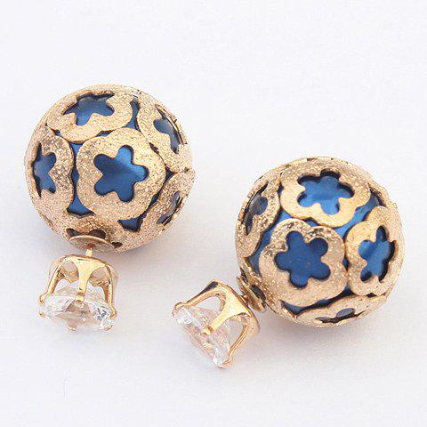 Flower Embellished Ball Stud Earrings - BLUE