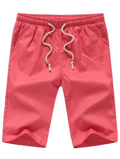 Men's Casual Straight Leg Solid Color Drawstring Shorts - WATERMELON RED L