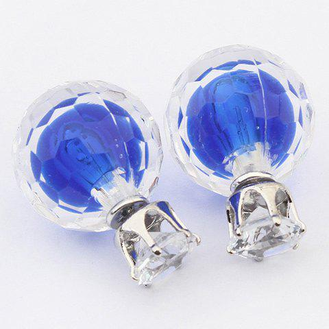 Pair of Charming Rhinestone Colored Ball Earrings For Women - SAPPHIRE BLUE