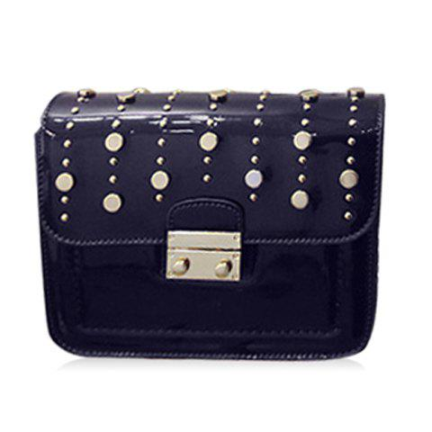 Ladylike Solid Color and Chain Design Women's Crossbody - BLACK