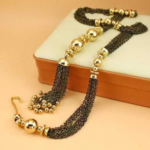 Bead Tasseled Sweater Chain - GOLDEN