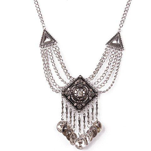 Retro Rhinestone Triangle Carving Coin Tassel Necklace For Women