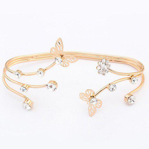 Chic Multilayered Rhinestone Butterfly Bracelet For Women