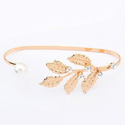 Chic Rhinestone Faux Pearl Leaf Bracelet For Women - GOLDEN