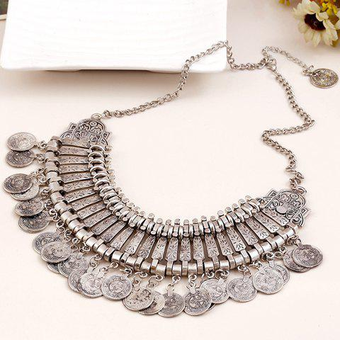 Retro Carving Coin Fringed Necklace - SILVER