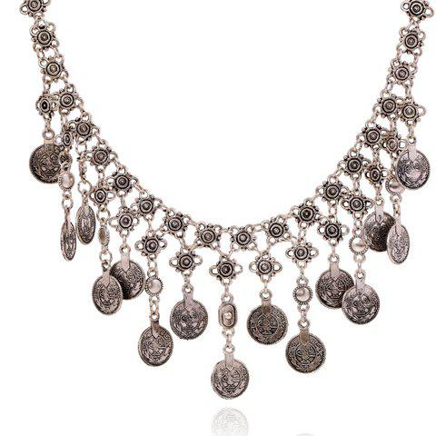 Retro Silver Flower Carving Coin Tassel Necklace For Women