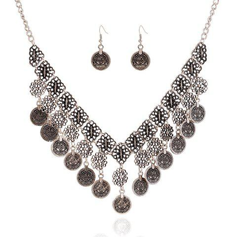 A Suit of Retro Flower Carving Coin Tassel Necklace and Earrings For Women - SILVER