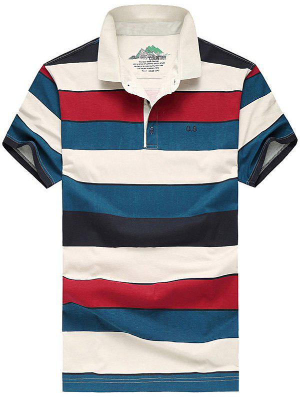 Men's Casual Plus Size Short Sleeves Striped T-Shirt
