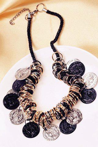 Retro Circles Carving Coin Tassel Necklace For Women - COLORMIX