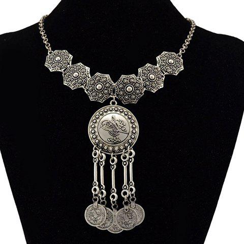 Carving Round Coin Fringed Necklace - SILVER