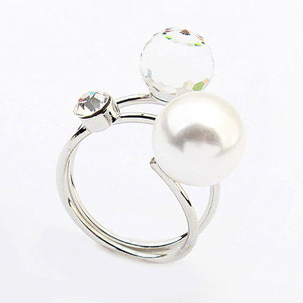 Faux Pearl Layered Rhinestone Ring - SILVER ONE-SIZE
