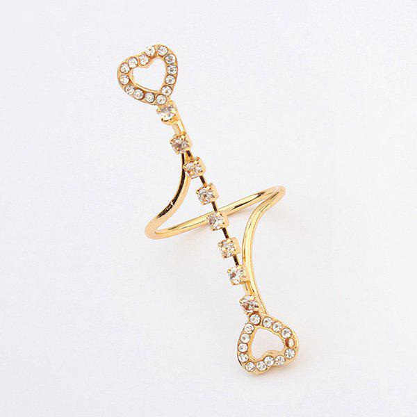 Delicate Style Rhinestone Heart Ring For Women - GOLDEN ONE-SIZE