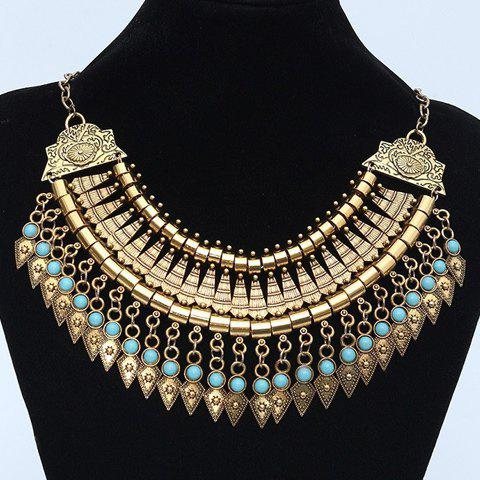 Faux Turquoise Carving Geometric Fringed Necklace - GOLDEN