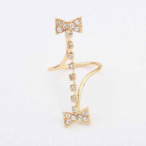 Sweet Rhinestone Bowknot Ring For Women