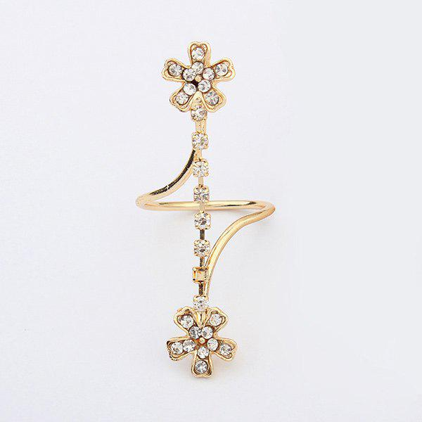 Rhinestone Layered Flower RingJewelry<br><br><br>Size: ONE-SIZE<br>Color: GOLDEN
